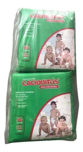 pañales caciquito  talla xg 2 paquetes de 22 unidades