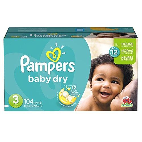 pañales desechablespampers tamaño del bebé en seco 3, 104..