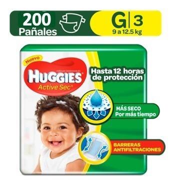 pañales huggies active sec etapa 3 / talla g 200 unidades