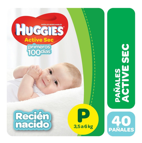 pañales huggies active sec p y recien nacido x 40