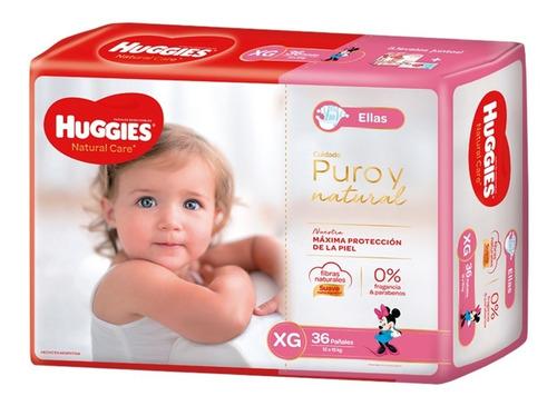 pañales huggies natural care ellas - talles m g xg xxg