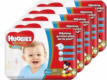 pañales huggies natural care etapa 4 niño /  xg 132 unidades