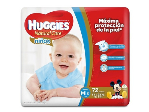 pañales huggies natural care m niño x 144 unidades