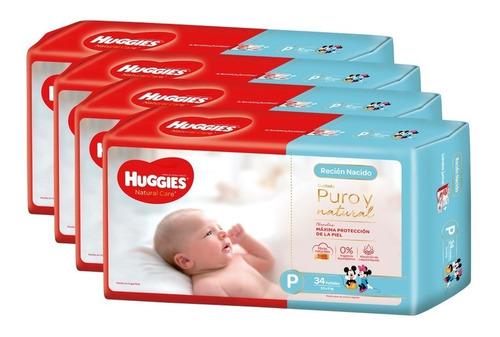 pañales huggies natural care puro y natural p y rn pack x 4