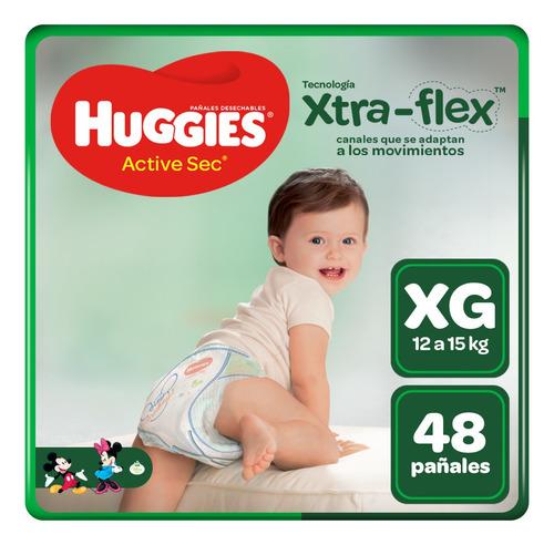 pañales huggies xtraflex active sec talla xg 48 unid