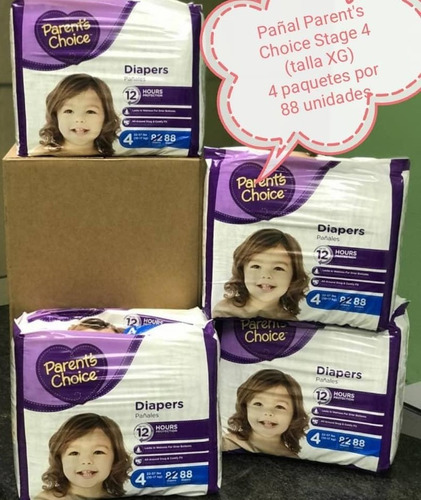 pañales importados parents choice talla kg  de 352 unidades