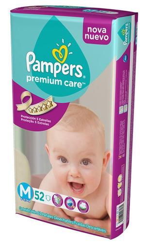 pañales pampers premium care m 6-9,5kg x52u.