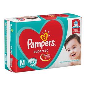 Pañales Pampers Supersec Rojo M Pack 48 U Bebe Talle Mediano