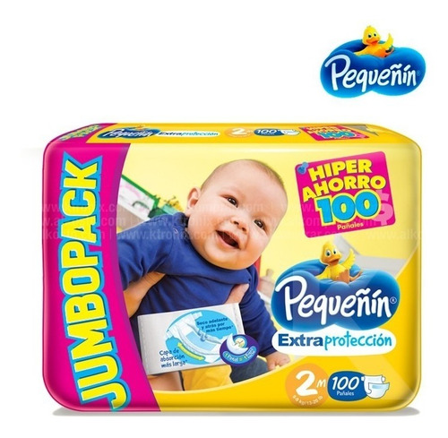 pañales pequeñin bebe etapa 2 x 100 unidades