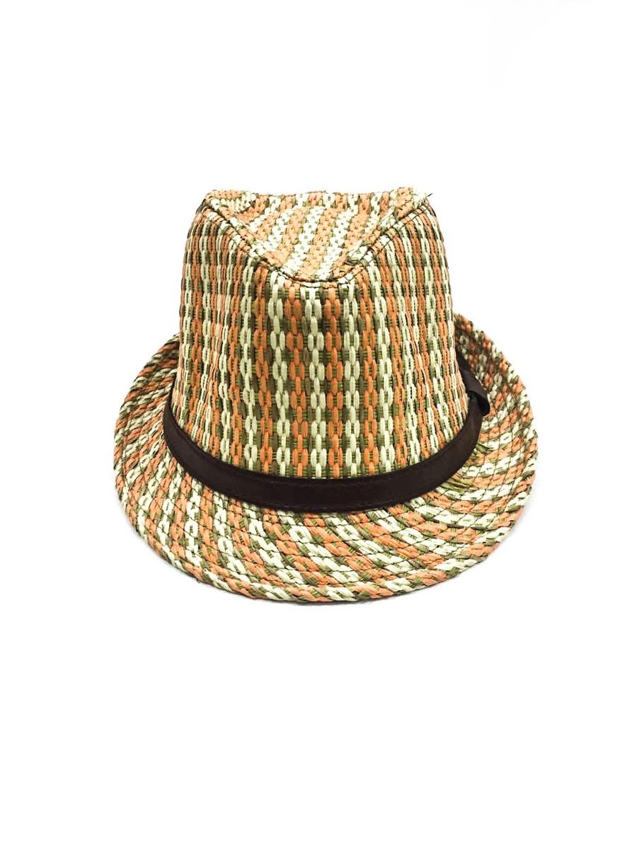 Chapéu Panamá De Palha Laranja Com Verde Jk Acessórios - R  9 115d33aa15e