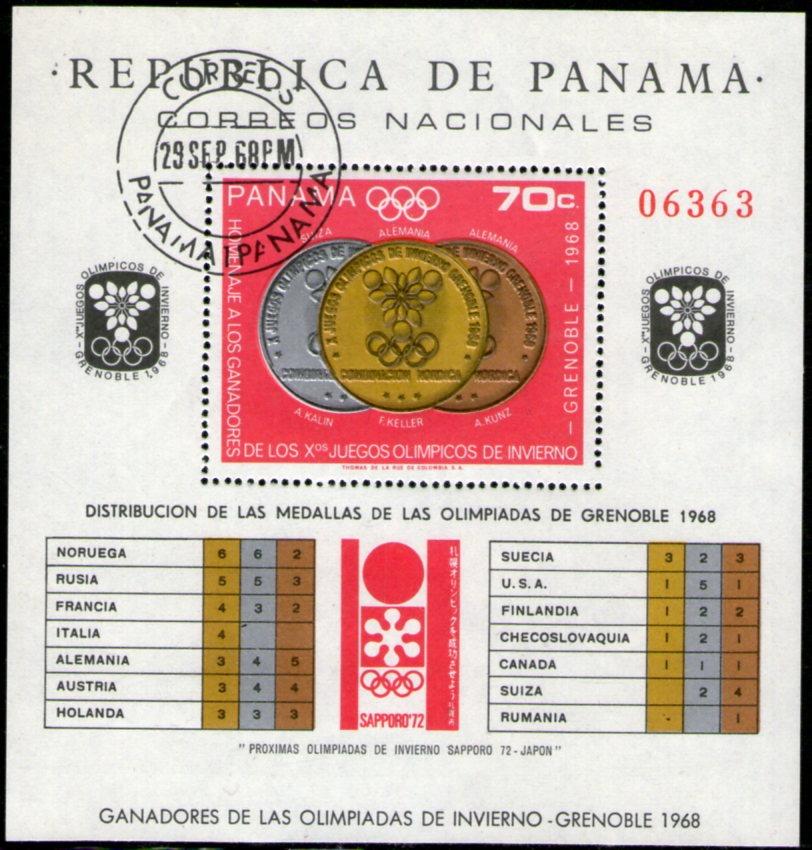 Panama Bloc Usado Olimpiadas De Invierno Grenoble 1968 145 00 En