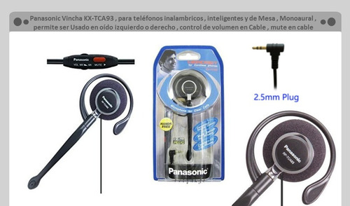 panasonic kx-tca93 clip-on headset - auricular tipo clip c/m