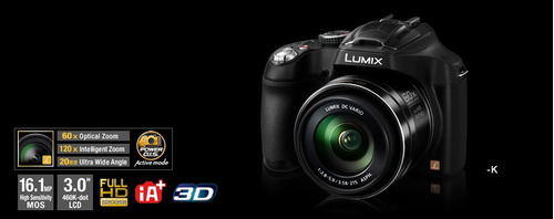 panasonic lumix fz70 16.1mp, zoom 60x, full hd. r y m