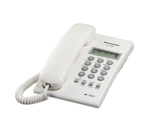 panasonic teléfono, pantalla de 2 lineas, alámbrico, blanco