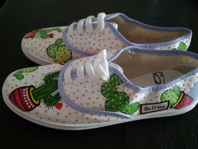 Cactus A Pintadas Zapatillas Panchas Mano Handmade N8wnOvm0