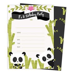 Panda Feliz Cumpleaños Invitaciones Invitan A Tarjetas 25 C
