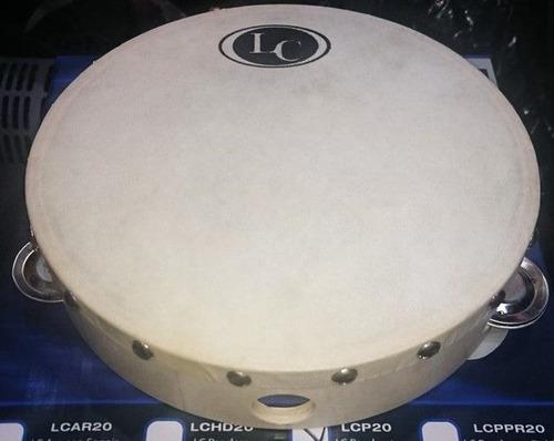 pandereta 20 lc latin custom sonajas parche d cuero lcp20