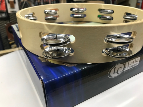 pandereta 25 cm lc latin custom sonajas dobles lcar25 aro