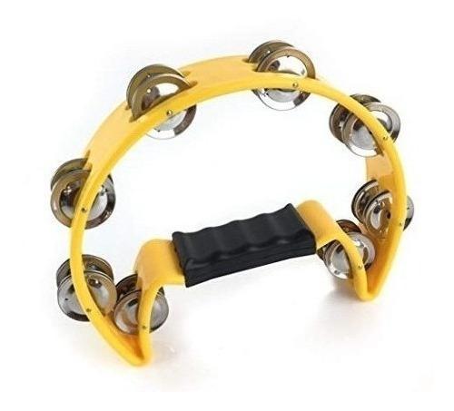 pandereta medialuna parquer simple 16 sonajas amarilla