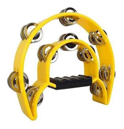 pandereta parquer doble sonaja medialuna amarilla