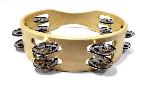 pandero doble chapa aro madera 8 pulgadas (musicplay)