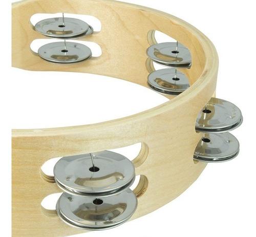 pandero madera de doble fila 8 pulgadas de diametro nutech