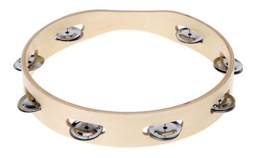 pandero madera simple 1 fila 10 pulgadas de diametro mitello