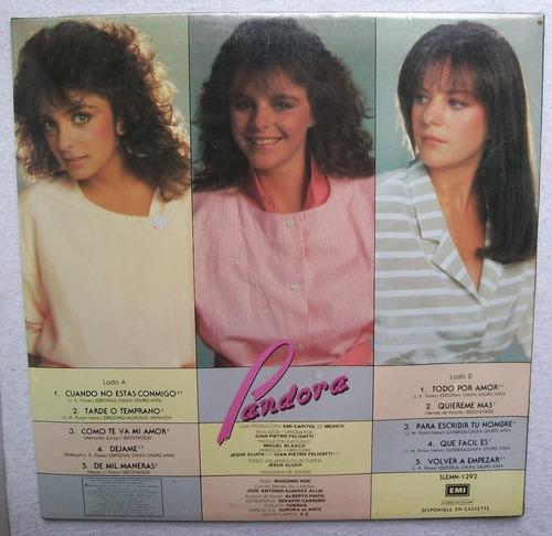pandora. cuando no estas conmigo. disco l.p. nuevo emi 1985