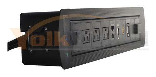 panel de conectividad motorizado para mesa de salas de junta