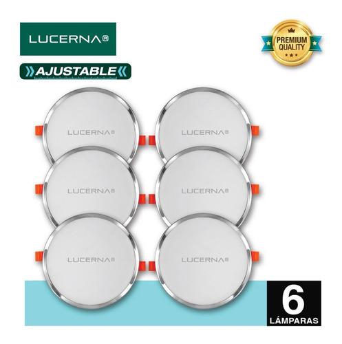 panel de led redondo ajustable 20w cromado lucerna (6 unidad