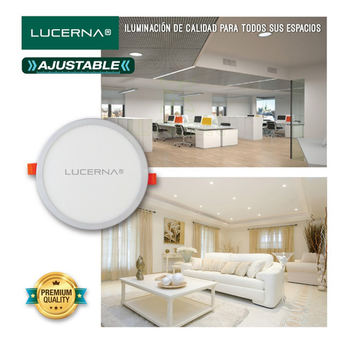 panel de led redondo ajustable 6w blanco lucerna (6 unidades