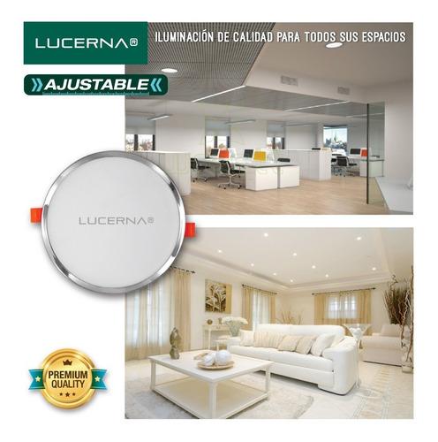 panel de led redondo ajustable 8w cromado lucerna (6 unidade