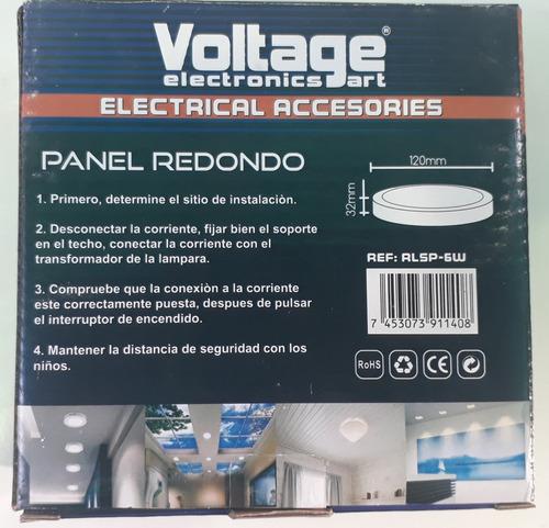 panel de luz redondo superficial 6 w