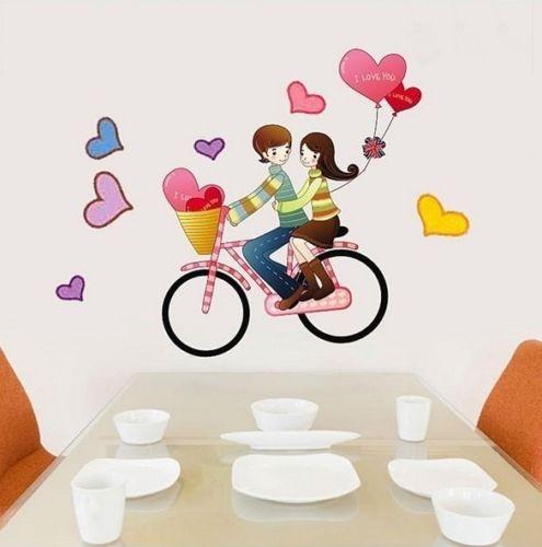 panel decorativo de pared enamorados en bicicleta