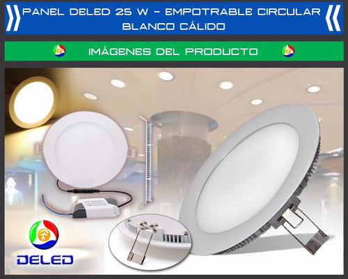 panel deled 25w empotrable circular - blanco calido