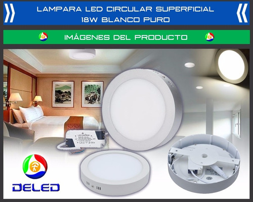panel deled circular superficial 18 watts - blanco puro