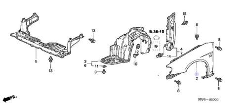 panel guardabarro del. der. honda civico (60211-s5d-a90zz)