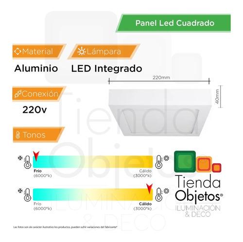 panel led 18w aplicar cuadrado frios 1500lm full