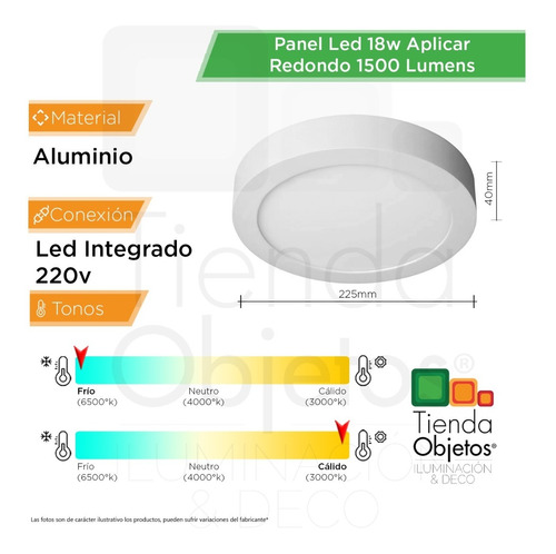 panel led 18w aplicar redondo calidas frias 1500 lumens