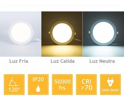panel led 24w plafon redondo embutir luz cálido frío neutro#