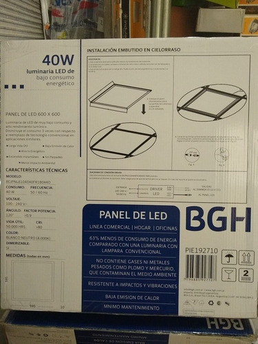 panel led 60x60 bgh 40w blanco neutro 4000k dimerizab x 4 un