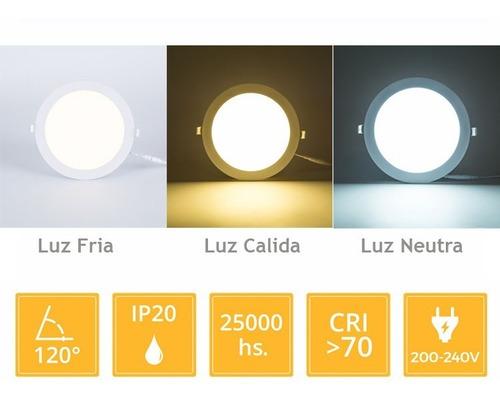 panel led 6w plafon cuadrado embutir luz calida fria neutra#