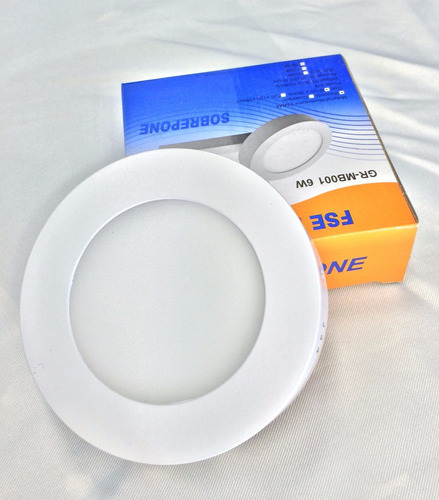 panel led 6w redondeo sobreponer fat luz fria foco lampara