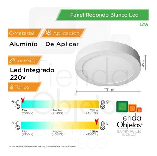 panel led aplicar redondo 12w calidos frios aluminio full