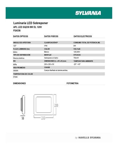 panel led cuadrado sobreponer 6` 8w 120v 5.7k 35000 horas p2