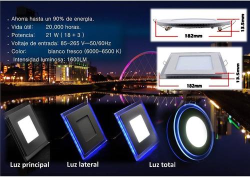 panel led empotrable luz blanca + azul