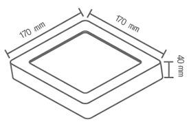 panel led fat 12w sobreponer en techo luz fria cuadrado
