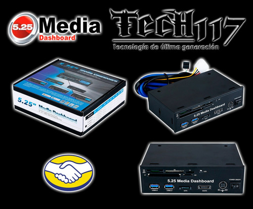 panel media dashboard 5.25'' usb3.0 esata sata card reader