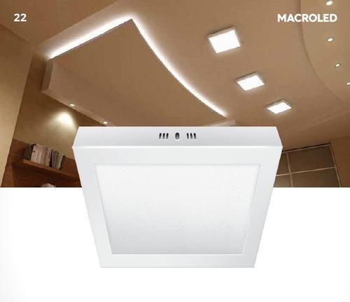 panel plafon exterior aplique loza led cuadrado 18w 3000k