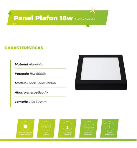 panel plafon led 18w cuadrado negro aplicar 6000k macroled